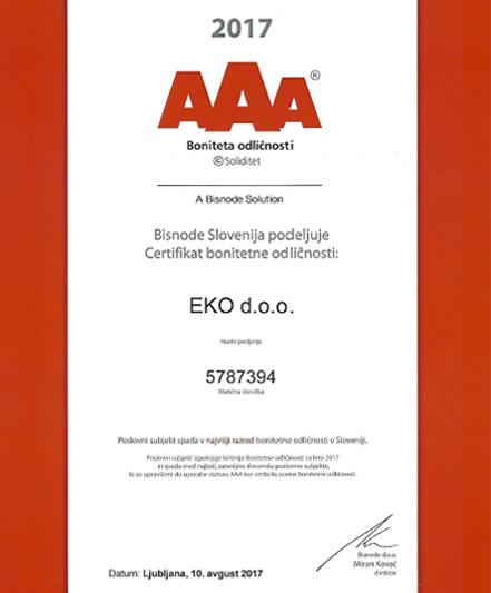 Podjetje EKO d.o.o. prejelo certifikat bonitetne odličnosti